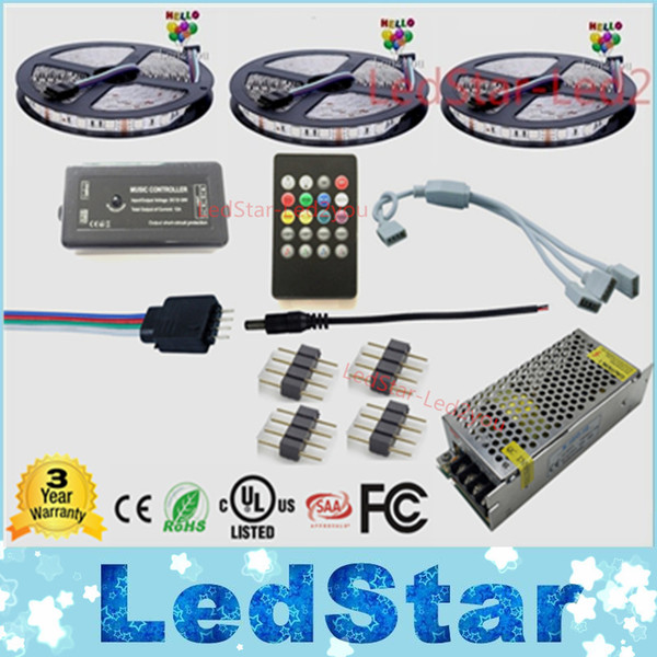 15m Music led strip Impermeabile 5050 Nastro Ruban 12V Flessibile + Music Telecomando + Kit adattatore di alimentazione Spedizione gratuita