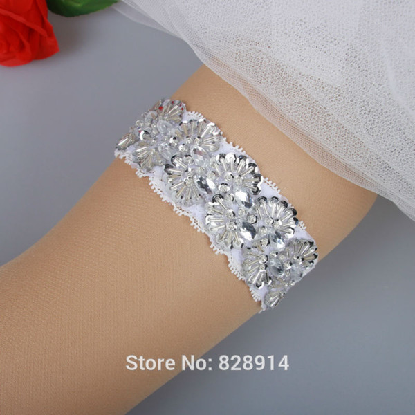 Wholesale-New Fashion White Lace Wedding Bridal Garter Toss Garter Handmade With Sequins and Pearl Beads