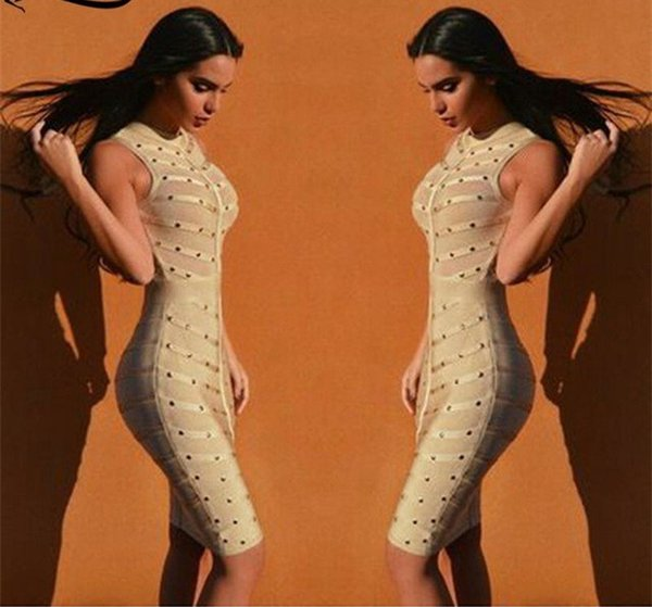 33e1a40b6b68c 2016 New Sleeveless Mesh Studded Beaded Sexy Women Dress Olive Red Black  Exclusive Bodycon Celebrity Bandage Dresses Wholesale Black Strapless Dress  ...