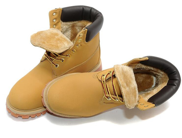 Size 36 ~ 45 Winter Yellow Snow Boots Brand Men Women Motorcycle Boots Leather Waterproof Outdoor Boots Cow Leather Hiking Shoes XMAS