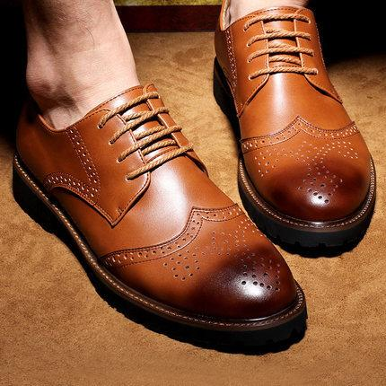 Noble Stylish Genuine Leather Vintage Carved Brogues Shoes Mens Casual Oxfords Shoes Hand Made Lace Up British Style High Quality