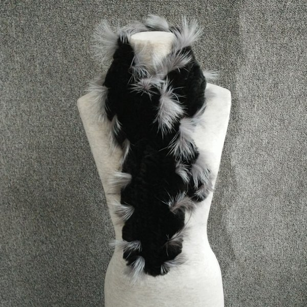 Women Genuine Knit Rex Rabbit Fur silver fox Scarves Wraps Winter female Fur Accessory Neck warmers Females Neck erchief