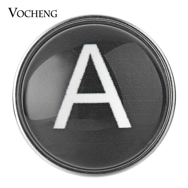 VOCHENG NOOSA Noir Gingembre Snap Bijoux 26 Anglais Lettres 18mm Cuivre Métal Bouton En Verre Vn-1619