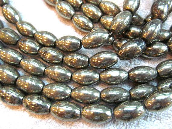 2strands 8-14mm genuine gleaming pyrite crystal rice olive barrel iron gold pyrite beads