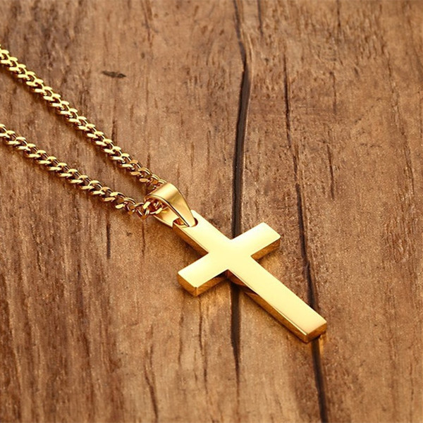 Fashion Punk Male Black Cross Pendant Silver Gold Black Stainless Steel Jesus Cross Pendant Necklace Jewelry For Cool Men Gift