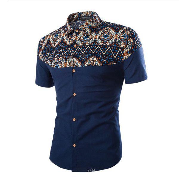 Venta al por mayor-caliente de la moda nacional de los hombres de manga corta camisa de vestir de algodón casual chemise homme 3XL 4XL BCL67