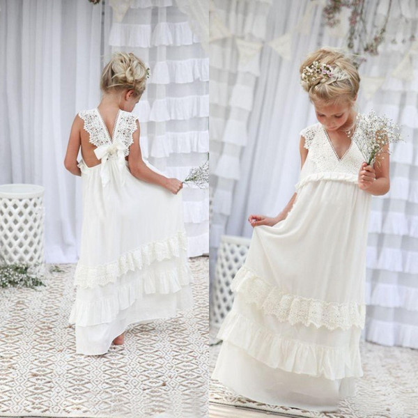 top popular Romantic 2019 New Arrival Boho Flower Girl Dresses For Wedding Cheap V Neck Chiffon Lace Tiered Formal Kids Wedding Dress Custom Made 2019