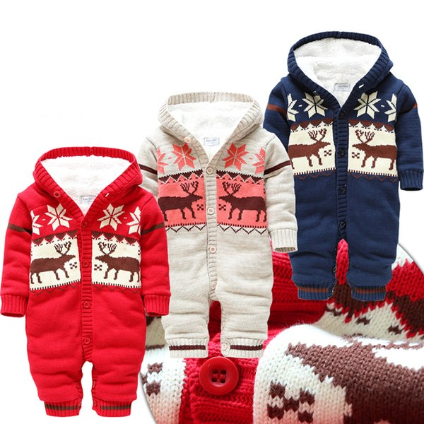 (0-1Y) infant overalls, thick fleece jacquard snowflake elks warm romper free for winter, baby jumpsuits, thick cotton knit free shipping