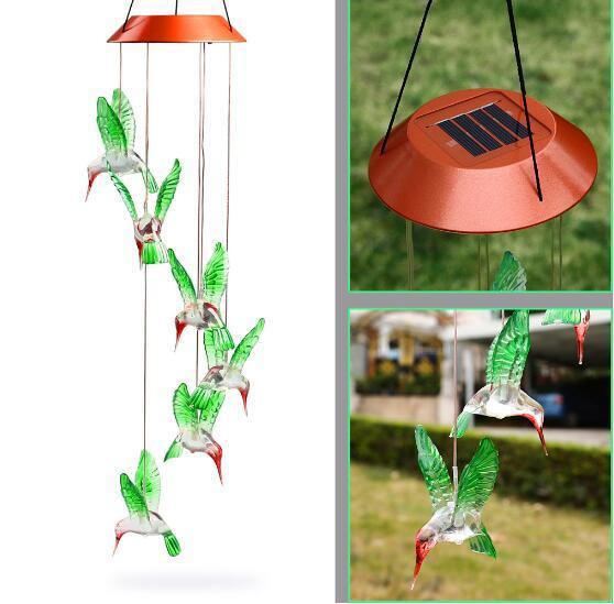 Sıcak Moda Açık Hummingbird Rüzgar Çanları Ev Bahçe Dekor Güneş Işık Güneş Renk Değiştiren Rüzgar Chime Işık Led Güneş Işığı