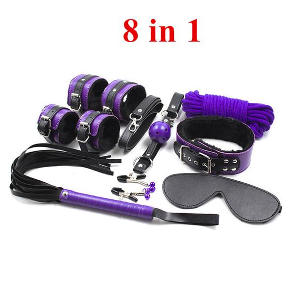 8 in 1 PU Leather SM Bondage Set Bondage Restraints Slave Game Fetish Sex Toys 7Pcs/Kit For Men and Women
