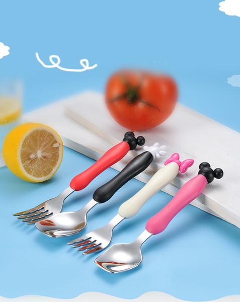 2pc / set vaisselle bébé dessin animé vaisselle set enfants en acier inoxydable créatif portable fourchette cuillère ensembles enfants outils d'alimentation