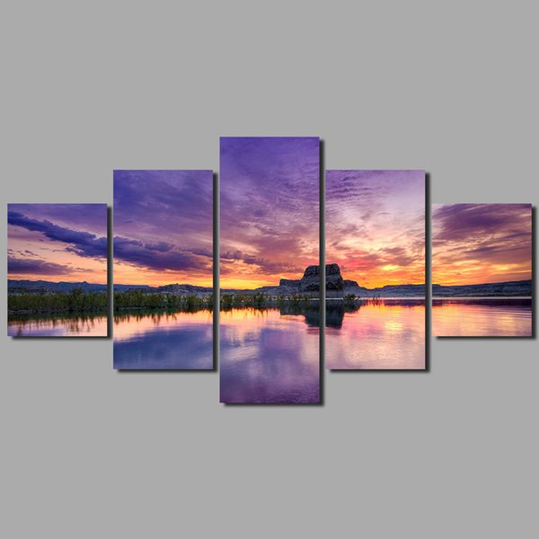 Big size 5pcs/set purple sky wall art pictures sunset lake mountains landscape gold dusk Canvas Painting living room unframed