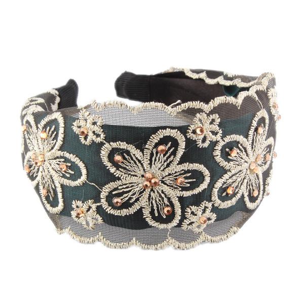 Moda femenina flor de diamante de diamantes bordado de tela de tela de ancho cabello femenino con diadema hueco al por mayor