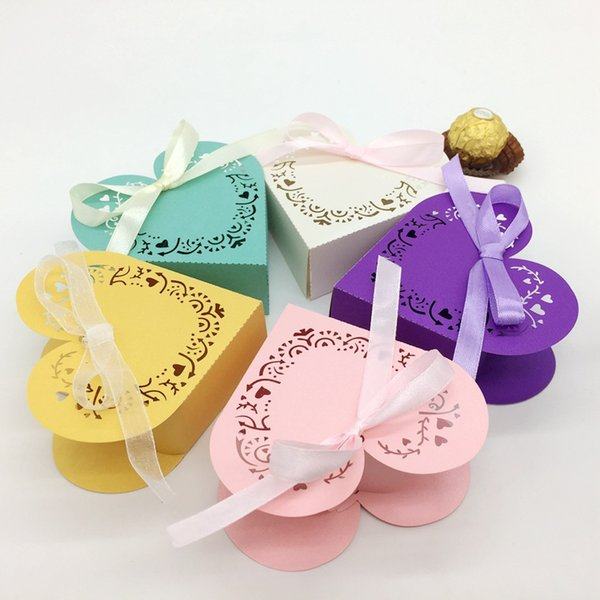 200pcs Laser Cut Heart Hollow Candy Box Chocolates Boxes With Ribbon For Wedding Party Baby Shower Favor Gift