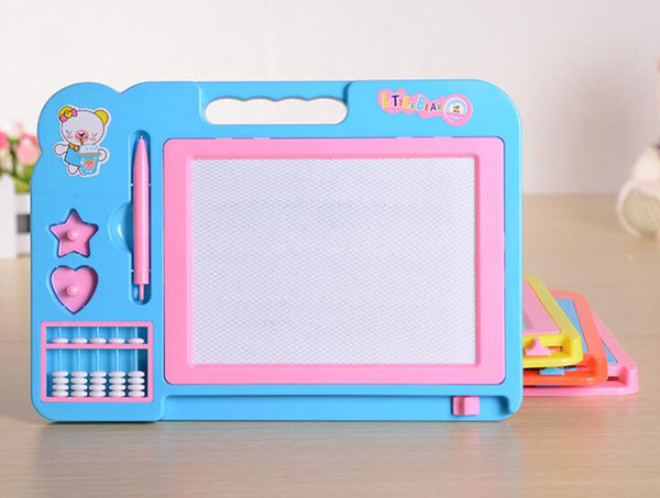 top popular Whole sale Children color magnetic sketchpad. Baby with abacus oversized puzzle write Sketchpad. Graffiti Sketchpad children 2019