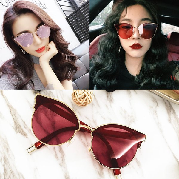 4154a310d700 New fashion metal cat eye sunglasses wild lady glasses large box sunglasses  cat eye glasses Fashion