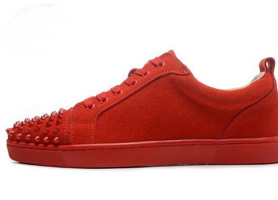 Großhandel Bottom Schuhe Männer Turnschuhe Red Leder Größen Low Echtem Frauen Frankreich Rote Mode 35 Top Mit Lässig Aus 46 Marke Sohlen Rivet wOkiTuPZXl