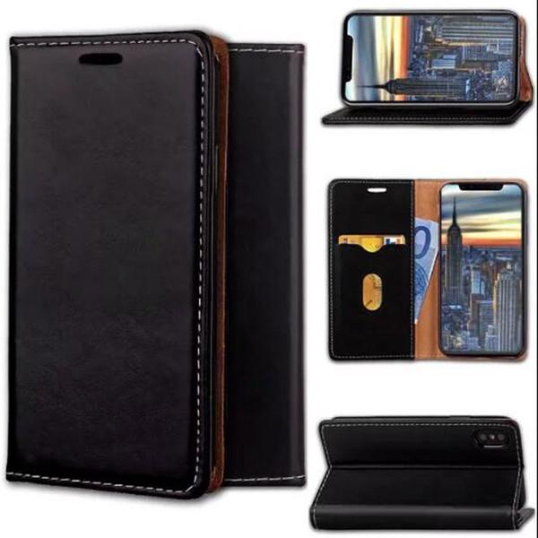 Custodia a portafoglio magnetica in magnete con alloggiamento per scheda Flip Stand Custodia posteriore per iPhone X