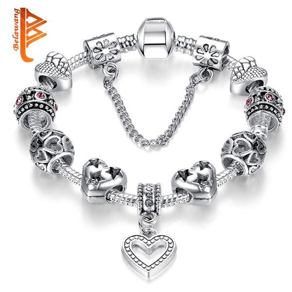 BELAWANG Free Shipping Silver Plated Snake Chain Charm Bracelets Love Heart Shape Pendant Cubic Zirconia Star Beads Bracelet&Bangles 18-20cm