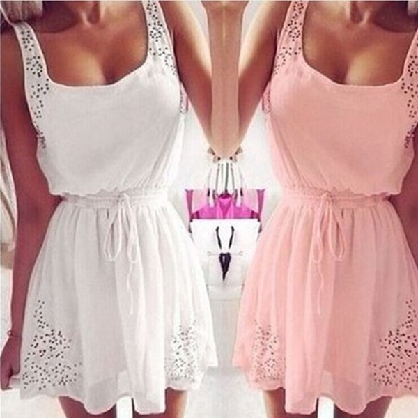 Summer Casual Dress Pink White Chiffon Hollow out Strap neck A line Short Women Dress Cheap Women Clothing In Stock 2016 Free Shipping