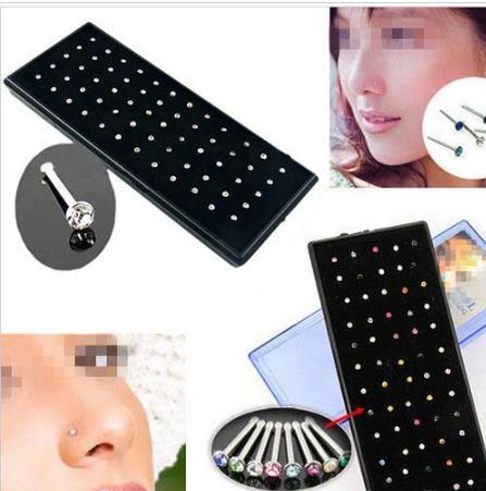Hot Selling Boby Jewelry Indian style 60pcs/set Crystal Rhinestone Nose Ring Bone Stud Surgical Steel Body Piercing Jewelry 10 sets/lot