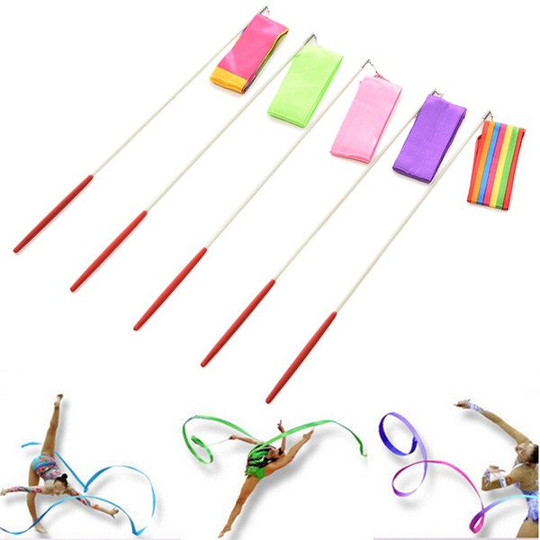 200pcs Wholesale 2016 Colors 4M Gym Dance Ribbon Stick Rhythmic Art Gymnastic Streamer Baton Twirling Rod ZA0927