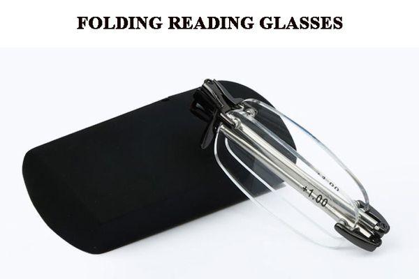 Homme femmes pli sans monture voyage d'affaires mini tube de puissance lire lunettes boîte de grossissement avec étui en force +1.50 2.00 2.50 3.00 3.50 4.00