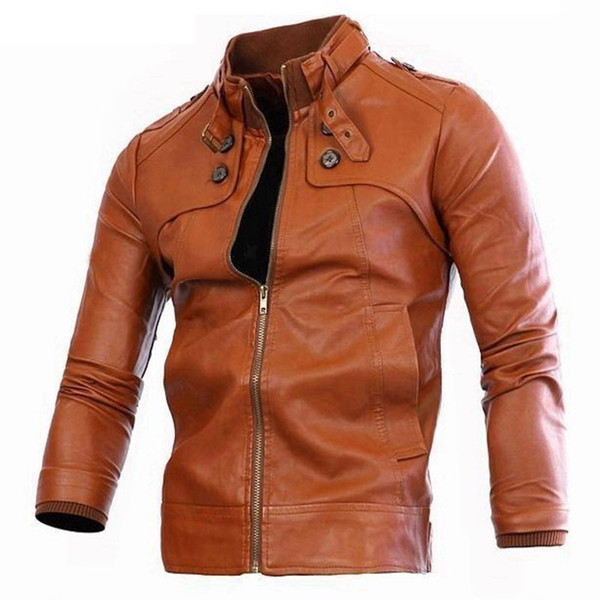 autumn Winter men bomber jackets zipper Faux Leather mens male casual Motorcycle Cheap jacket brown pocket coat