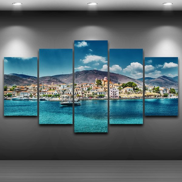 5 Pcs/Set Seaside Town Framed wall art picture Artistic Printed Drawing on Canvas Printed Home Decor Spray Oil Painting Decoration