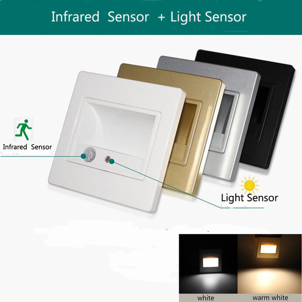 Led stair light lamp motion human body induction sensor wall light 1.5W + Light sensor step night down staircase hallway lighting 100-240v