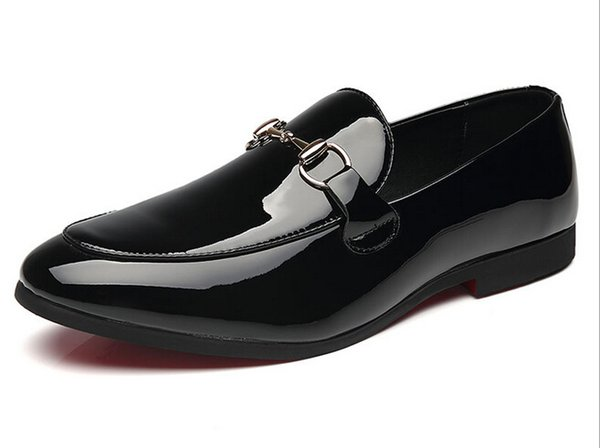 Italian Men Dress Shoes Buckle Strap Patent Leather Luxury Fashion moccasins Groom Wedding Shoes Men Oxford shoes 38-48 Loafers