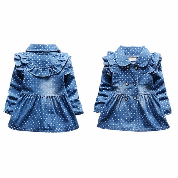 best selling Baby Girls Dress 2017 Children Kids Clothing Denim Jeans Long Sleeve Baby Girls Princess Flora Dress