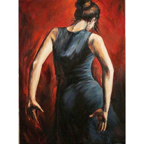 Abbildung Gemälde spanische Flamenco-Tänzer Tango schwarz und blau Kleid moderne Kunst Frau Ölgemälde handbemalt