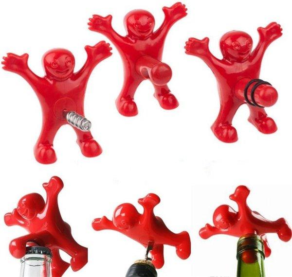 Abrebotellas de modelado de personajes divertidos, abrebotellas de vino de cerveza, tapón de vacío de vino 3 estilos, barras, herramientas familiares de botellas abiertas divertidas.