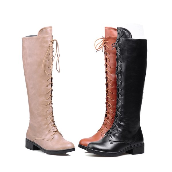 New Hot Fashion Women's Synthetic Leather Shoes Platform High Heel Zip Lace Up Knee Boots WB308 Beige, Brown, Black