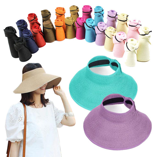 PrettyBaby New Fashion 2016 foldable wide brim sunbonnet roll up sun visor hat Summer Straw Sun hat beach for women and kids multicolor
