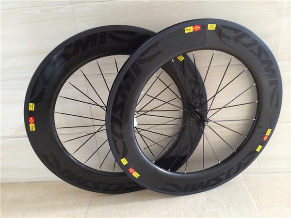 Best sale 88mm black cosmis carbon wheels clincher 700C 3k matt basalt surfac 88mm full bike wheels v breaks made in china free shipping