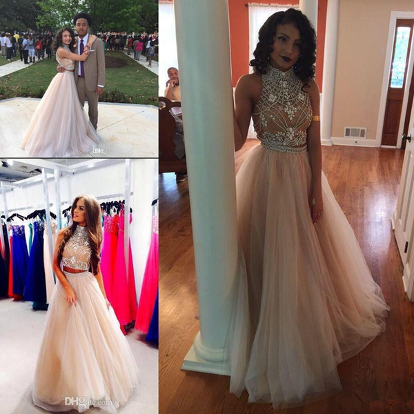 2019 Sexy Two Pieces black girl Prom Dresses couples fashion High Neck Beaded Top nude Tulle Floor Length Formal Party Dresses Evening Gowns