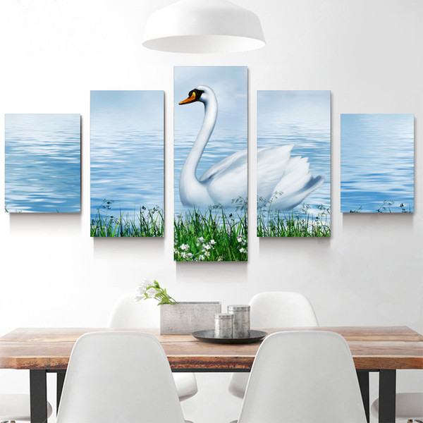 5p modern Home Furnishing HD picture Canvas Print art wall of the sitting room children room decoration theme -- Beautiful white swan