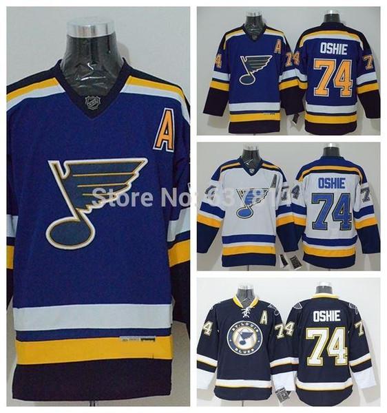 Chandails de hockey sur glace St. Louis Blues 2015 74 T. J. Oshie Chandails pour femme pour hommes Blue Black White Jersey Livraison gratuite Taille S-XXXL A Patch