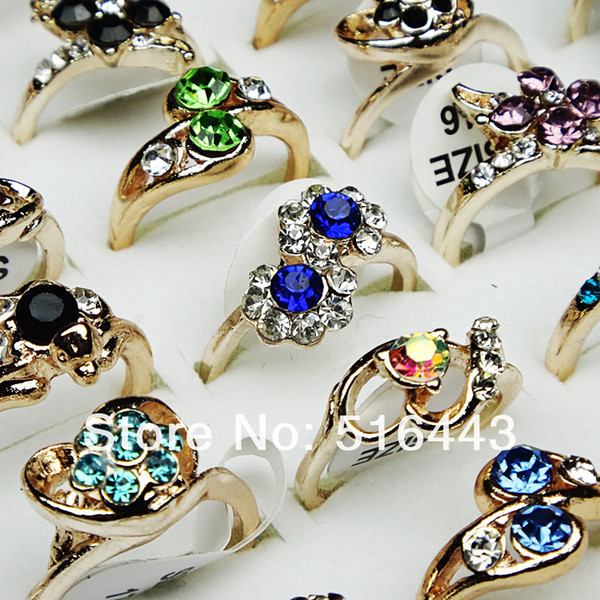 Hot Sale 10pcs Crystal Czech Rhinestones Fashion Women Girls Gold Plated Rings Wholesale Jewelry Lots A-029