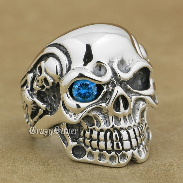 925 Sterling Silver Titan Dark Aquamarine Eye Skull Mens Biker Rocker Punk Ring 8V105 US Size 7 ~ 15