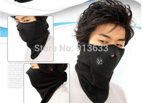 2pcs/lot In stock New Paintball Bicycle Motorcycle Ski Winter Warm Neck Half Face Mask Black face ski mask