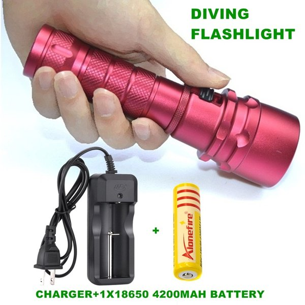 Alonefire DV19 Diving diver Flashlight XML L2 LED Underwater Lamp Waterproof LED Torch Flash Light +18650 Rechargeable battery+charger