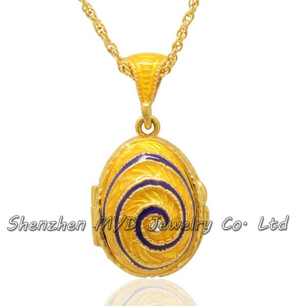 Kadın moda takı Noel hediyeleri girdap tasarım Faberge yumurta kolye madalyon kolye el emaye ile altın kaplama