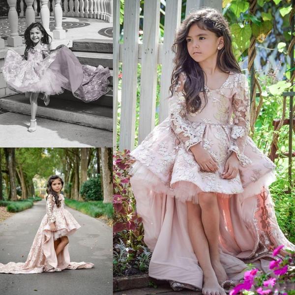 2016 Pembe Uzun Kollu Çiçek Kız 'Elbiseler Dantel Aplike Çocuklar Örgün Düğünler Için Giymek Güzel Yüksek Düşük Küçük kızın Pageant Elbise