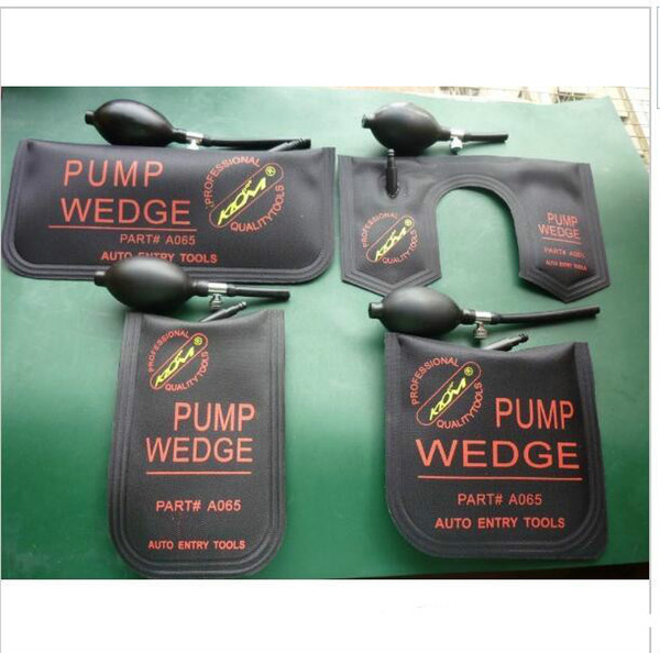 top popular 4pcs set 100% KLOM PUMP WEDGE Airbag New for Universal Air Wedge LOCKSMITH TOOLS Lock Pick Set Door Lock Opener black and blue 2021