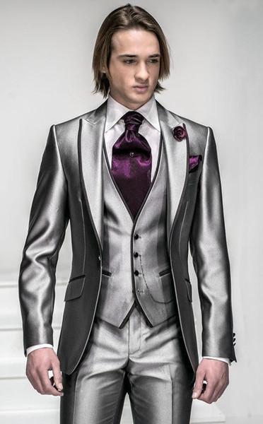 Corea-Satén Plata Brillante Con Brim Negro Hombre Novio Esmoquin Trajes de Novia / Traje Formal (Chaqueta + Pantalones + Chaleco + Corbata + Pañuelo) BIEN: 999