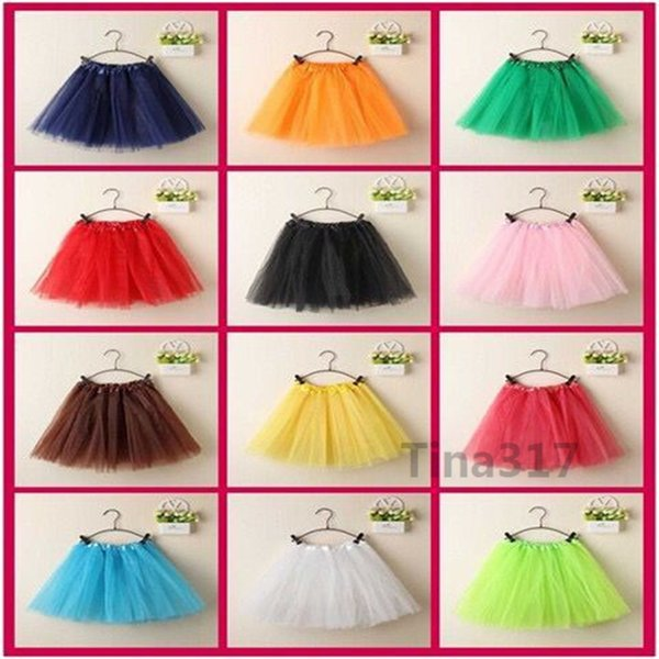 20colors Top Quality candy color kids skirt dance soft tutu skirts ballet skirt 3layers children pettiskirt clothes 2144