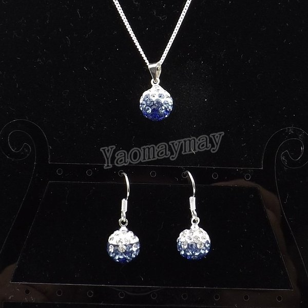 New Arrive Rhinestone Jewellery Set Gradient Blue Disco Ball Pendant Earrings And Necklace For Women 10 Sets Wholesale